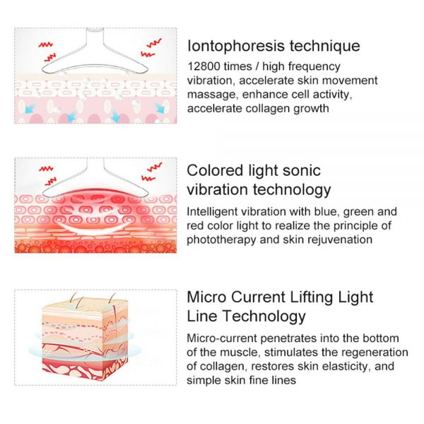 Facial Neck Massager Device Double Chin Neck Facial Wrinkles Remover Skin Lifting LED Photon Light Heating Therapy Neck Massager