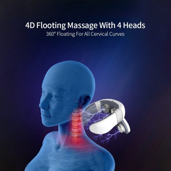 4D Magnetic Pulse Heated Electric Intelligent Neck Shoulder Massager Fatigue Relief Relaxation Cervical Infrared Massage Device
